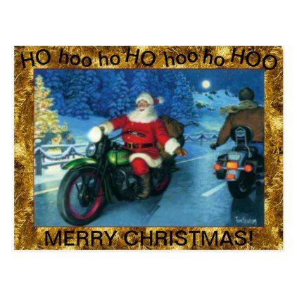 Santa On A Motorcycle Postcard Zazzle Com Christmas Postcard Colorful Postcards Postcard