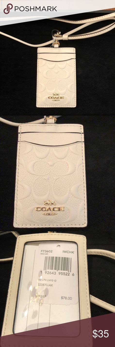 """SIGNATURE /""""C/"""" ID LANYARD CHALK LEATHER GOLD F73602 NWT 100/% AUTHENTIC COACH"""