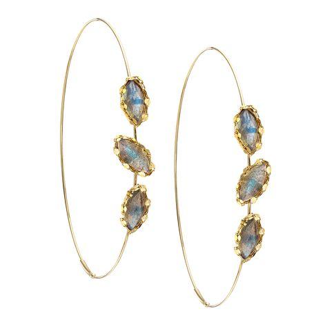 Lana Jewelry Labradorite Triple Possessed Magic Hoops 14 Karat