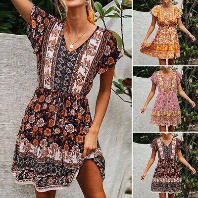 D1 NEW Dress Beach Party Boho Sundress Casual Stretch  Style