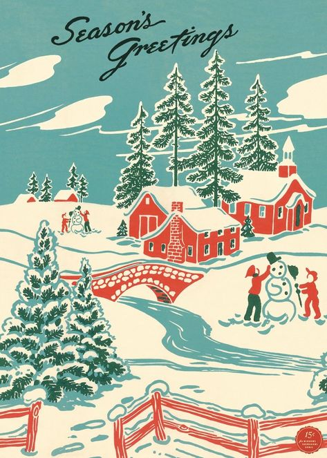 Our vintage style Seasons Greetings Winter Wonderland Poster features a vintage image that has been Vintage Christmas Images, Retro Christmas, Vintage Holiday, Christmas Art, Vintage Images, Christmas Posters, Christmas Sayings, Holiday Posters, Christmas Hamper