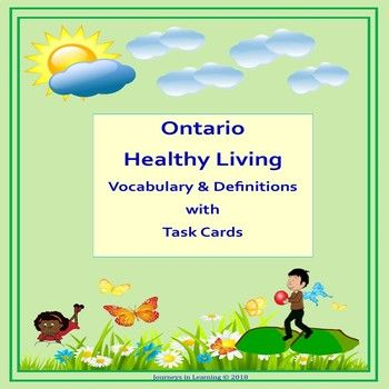 Ontario Healthy Living Vocabulary & Definitions with Task