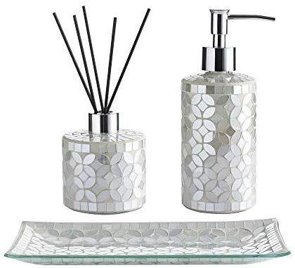 Whole Housewares Bathroom Accessories Set 3 Piece Glass Mosaic Bath Accessory Completes Includi Bathroom Accessories Sets Diffuser Bottle Bathroom Accessories