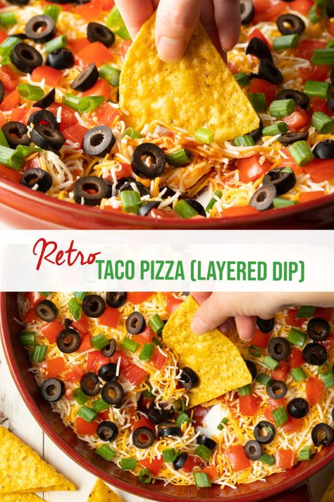 Layered Taco Pizza Dip - This easy retro dip recipe looks like a pizza but is made with all of your favorite taco goodies, including diced tomatoes, sliced olives, and LOTS of cheese. It's perfect to customize and serve as a fun shareable appetizer or party snack! #tacopizza #tacodip #layeredtacodip #howtomaketacodip #aspicyperspective