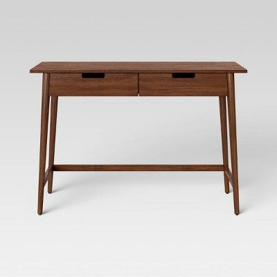 Ellwood Wood Writing Desk With Drawers Brown Project 62 Wood Writing Desk Writing Desk With Drawers Modern Wood Desk