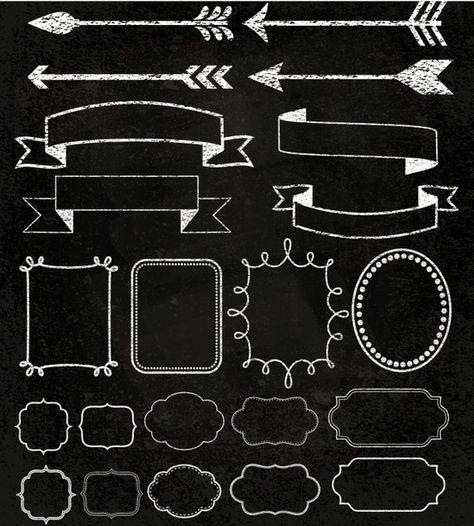 Chalkboard Frame Clip Art, White Chalk ClipArt, Chalkboard Wedding Clipart, Chalk Banner Clipart, Ch