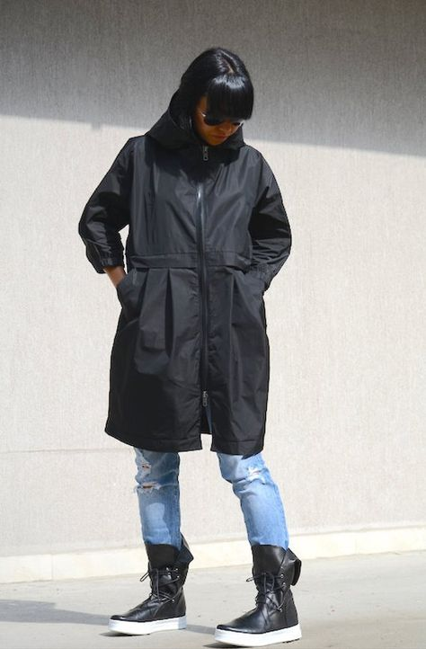1842a25f8ef Evening Women Waterproof Jacket with Hood Black Plus Size