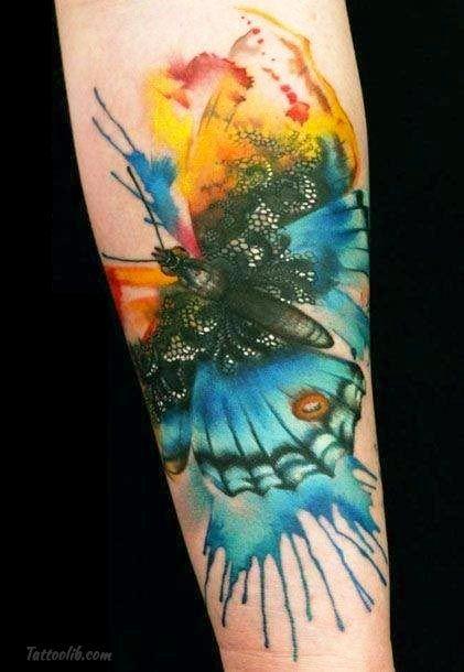 Tatouage Aquarelle Papillon Technique Parfaitement Approprie A Ce