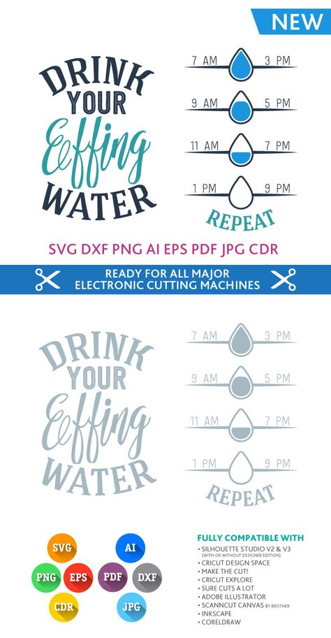 Drink Your Effing Water SVG quote - SVG DXF for Studio Png Eps Pdf Jpg Ai Cdr inspirational quote cut files for Silhouette, Cricut, Cameo by PremiumSVG on Etsy https://www.etsy.com/listing/384373198/drink-your-effing-water-svg-quote-svg
