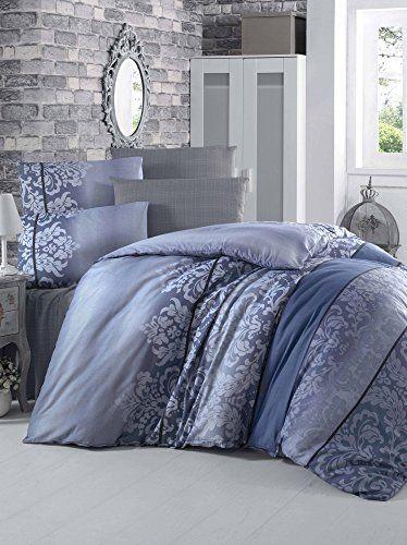 Dose Of Modern Oyku Blue Ranforce Super King Quilt Cover Set Us Es 121vcq48497 Blue Dark Blue Duvet Cover Sets Home Duvet Covers