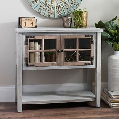 Our Distressed Blue Gray Windowpane Console Table Has A Rustic Look That Will Fit Any Style This Table Blue Console Table Kirkland Furniture Small Hall Table