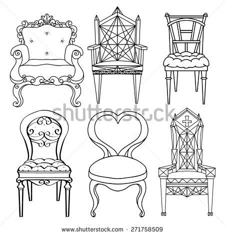 Furniture Hand Drawn Set Vintage Chair Armchair Throne Front View Closeup Black Lines Isolated On A White Backg Chair Drawing Drawing Furniture Drawing Set