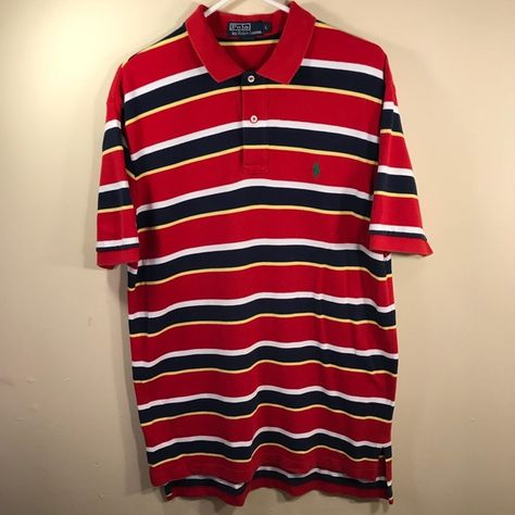 Shop Men s Polo by Ralph Lauren Red size L Polos at a discounted price at  Poshmark. Description  Polo Ralph Lauren Short Sleeve Red Striped Polo  Shirt Size  ... ae6c74c90a0