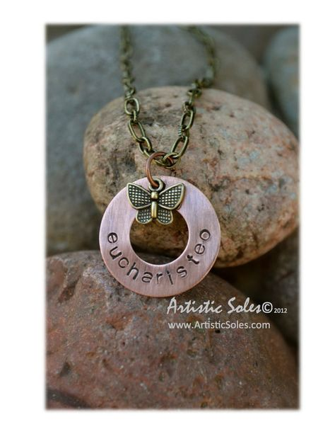 Custom Metal Stamped Eucharisteo Necklace by by ArtisticSoles, $20.00