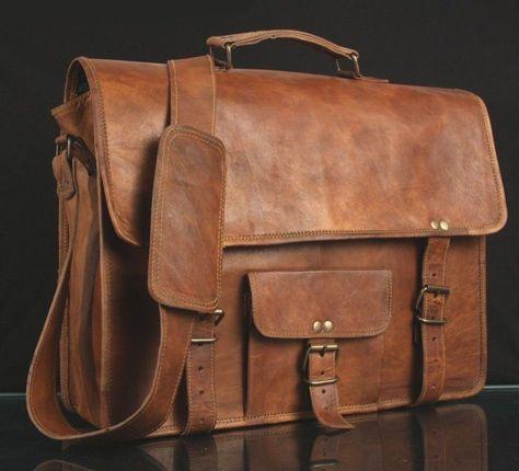 Men/'S Genuine Brown Leather Vintage Laptop Messenger Shoulder Briefcase Bag