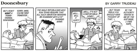 doonesbury is a political comic which has provided biting social  satirical essay on abortion doonesbury abortion cartoons from latimes