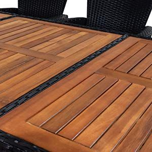 Amazon De Casaria Poly Rattan Sitzgruppe 8 1 Schwarz 7cm Dicke Auflagen Tisch Armlehnen Aus Holz Neigbare Leh Rattan Gartenmobel Esstisch Stuhle Gartenmobel