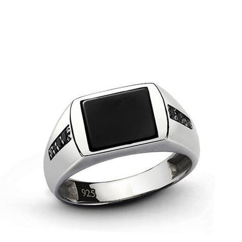 FB Jewels Solid Sterling Silver Mens Onyx Ring