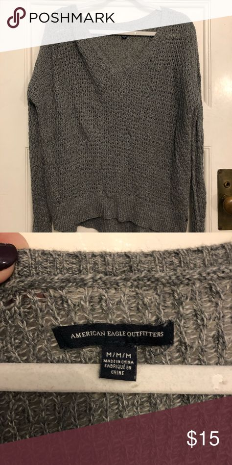 Grey sweater Super cute slouchy sweater. Gently used, great condition! American Eagle Outfitters Sweaters