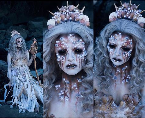 Wicked mermaid makeup and costume.
