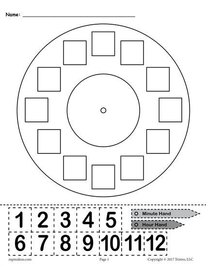 Free Printable Build A Clock Telling Time Activity Time