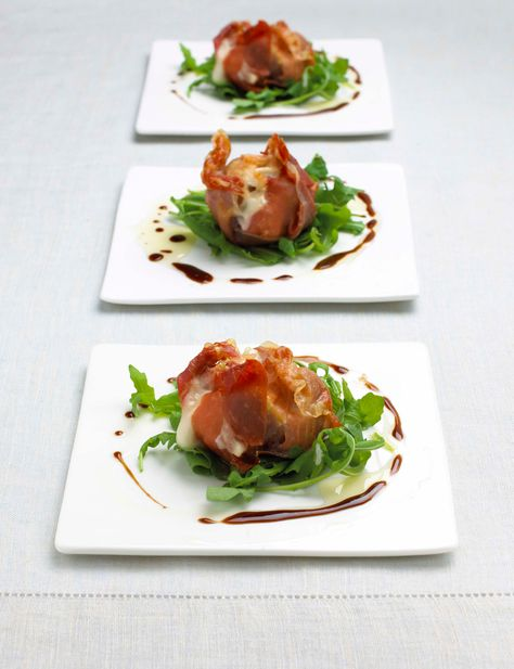Roasted figs with Parma ham and goats' cheese. Easy entertaining starter recipe.