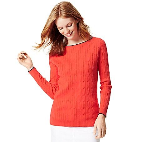 Tommy Hilfiger Womens Cable Knit Boat Neck Sweater