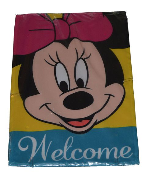 New Woods Disney Minnie Welcome Flag Set W Stand w Free Stickers ...