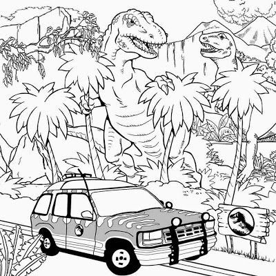 Free Pintable Big Dinosaur T Rex Jurassic Park Coloring Pages