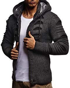 Leif Nelson Men/'s Full Zip Cardigan Basic casual full zipped winter hoodie for Men Long-sleeved slim fit Knitwear