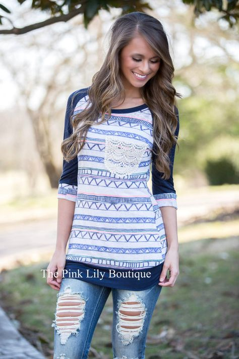 Wait For Me Navy Aztec Blouse - The Pink Lily Boutique