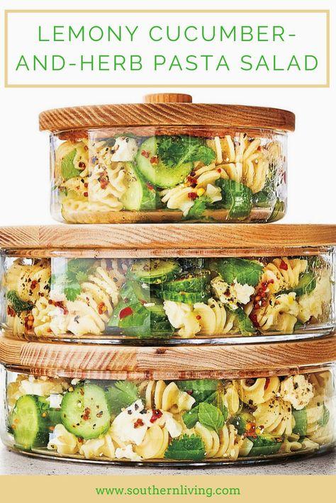 Lemony Cucumber-and-Herb Pasta Salad - Pasta salad recipes - Nudelsalat Vegetarian Recipes, Cooking Recipes, Healthy Recipes, Delicious Salad Recipes, Food Recipes Summer, Vegetarian Pasta Salad, Healthy Pasta Salad, Cooking Pasta, Cooking Games