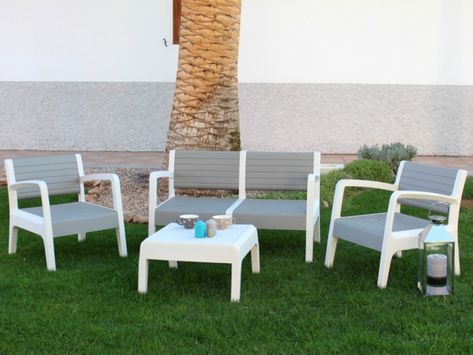 Salon Jardin Pvc Canape 2 Pers 2 Fauteuils Table Basse