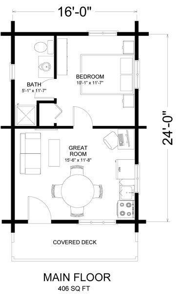 16 X 24 Floor Plan Tiny House Floor Plans Cabin Floor Plans House Plans
