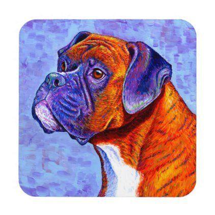 Colorful Brindle Boxer Dog Plastic Coasters Boxer Brindle