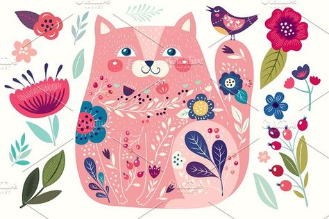 CAT & Flowers. Collection №3 by MoleskoStudio on @creativemarket #cat #feline #meow #affiliatelink