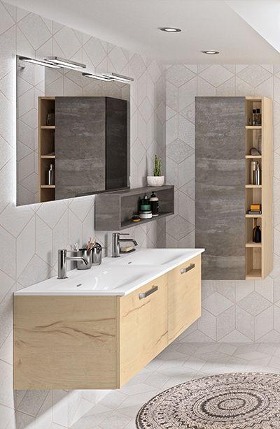 Meuble de salle de bain zoé avec miroir rétro éclairé ...