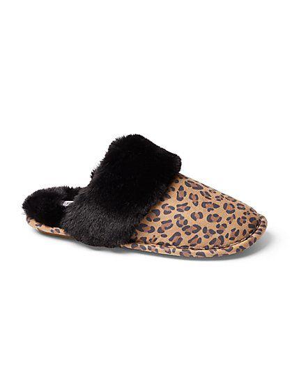 Leopard-Print Faux-Fur Scuff Slipper