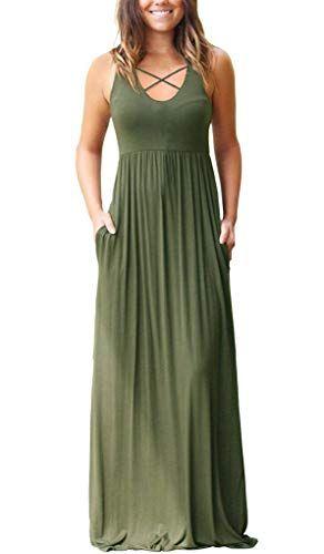 Womens Sleeveless Racerback Maxi Dresses With Pockets Crisscross Plain Loose Long Dresses Army Green Large Maxi Long Dress Casual Maxi Dress Plain Maxi Dress