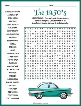 1950 S Word Search Puzzle Worksheet Nursing Home Activities