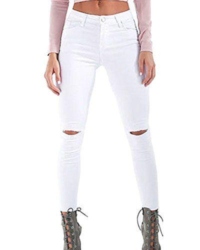 Pantalones Jeans Mujer Skinny Rotos Vaqueros Pantalones Cintura Alta Casual Pantalones Lapiz Blanco S Vaqueros Mujer Pantalones Cintura Alta Pantalones Jeans