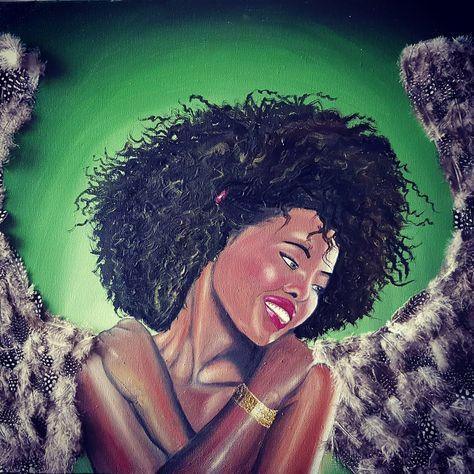 Ange africaine. Huile sur toile. #africaine #anges #art #décoration #dessin #fantastique #fee #huile #huilesurtoile #instaart #tableau #tagsforlike #toile