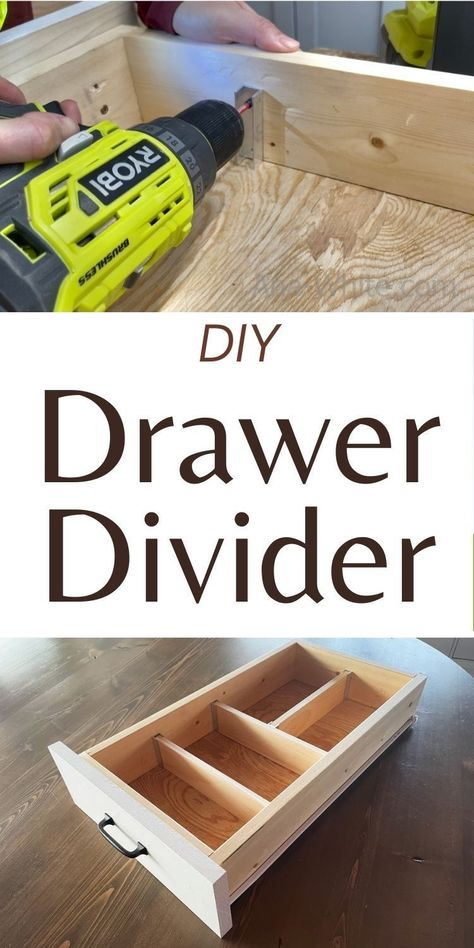 Diy Drawers, Wood Drawers, Wood Projects, Woodworking Projects, Diy Drawer Dividers, Wood Screws, Wood Pieces, Ana White, Storage Cabinets