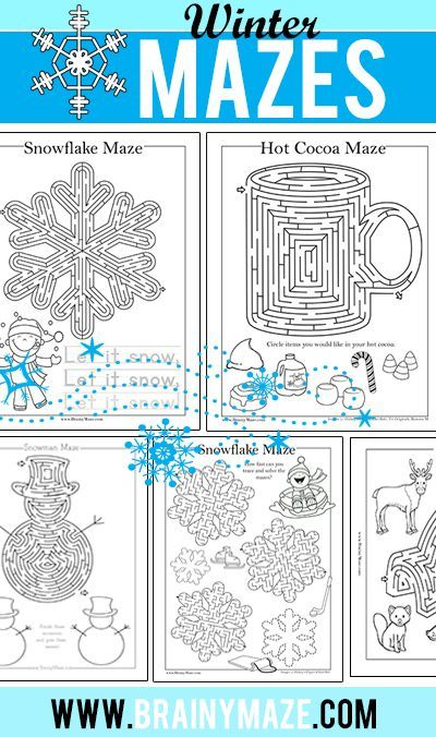 Free Winter Themed Mazes and Activity Pages for Kids. Snowma Maze, Snowflakes, Hot Chocolate, Igloo and more.