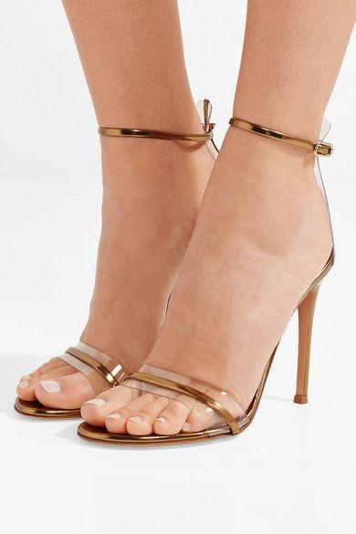 Gold Portofino 100 Pvc Trimmed Metallic Leather Sandals Gianvito Rossi Metallic Leather Sandals Clear Strap Heels Leather Sandals