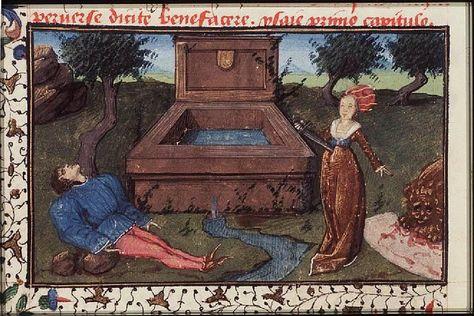 Thisbe stabs herself on finding Pyramus dead; the lion with Thisbe's kerchief   ----The Hague, KB, 74 G 27 .   Christine de Pisan, L'Epistre d'Othea Place of origin, date:  Auvergne(?); c. 1450-1475       http://manuscripts.kb.nl/show/manuscript/74+G+27