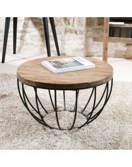 Table Basse Metal Noir Et Bois
