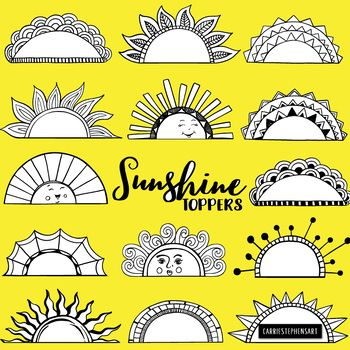 Sunshine Toppers Frame And Label Black Line Art Sun Silhouettes