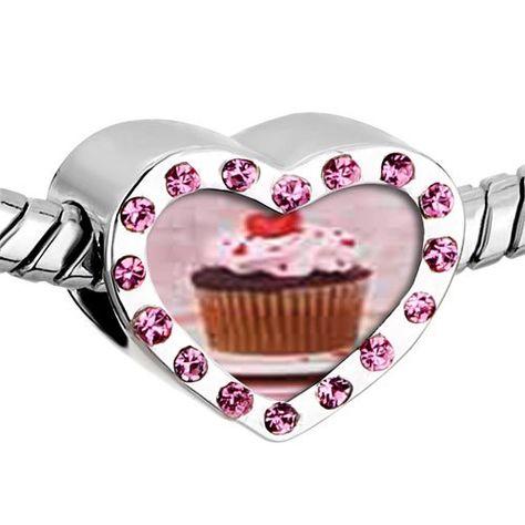 Pugster Pink Swarovski Crystal Heart Topped Cupcake Photo Heart Silver Plated Beads Fits Pandora Charm Chamilia Biagi Bracelet Pugster,
