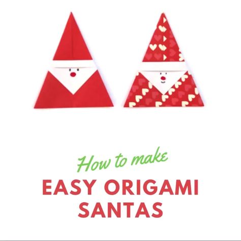 Learn how to make an Easy Origami Santa. Fold a simple piece of paper into the cutest Father Christmas. A fun and simple paper project to keep both kids and adults busy over the Christmas holidays #origami #christmas #holiday #santa #fatherchristmas #christmasorigami #origamiinstructions
